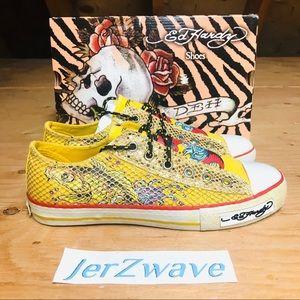 Ed Hardy Yellow Koi Gish Glitter Sneakers Size 6.5